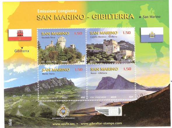 SAN MARINO- Jt Issue with Gibraltar- Sheet of 4- Rock of Gibraltar- castles