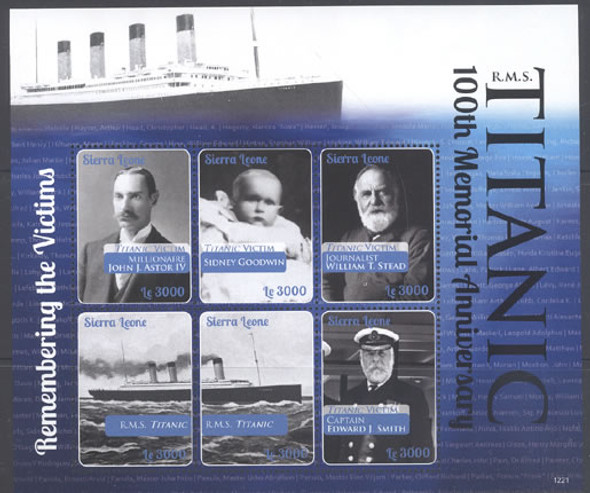 SIERRA LEONE (2015)- Titanic 100th Memorial Anniv II- Sheet of 6- victims