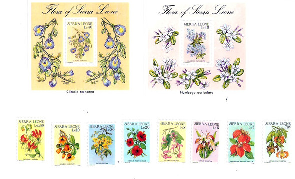 SIERRE LEONE (1986)- INDIGENOUS FLOWERS-8v+2 SHEETS