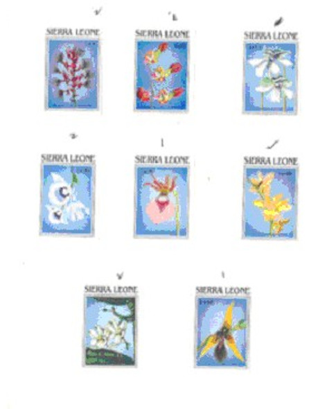 SIERRE LEONE (1989)- ORCHIDS SET OF 8 VALUES