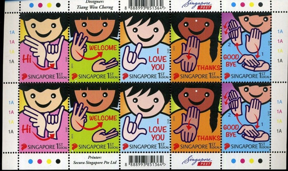 SINGAPORE (2013) - Greetings- Sign Language Sheet of 10 values
