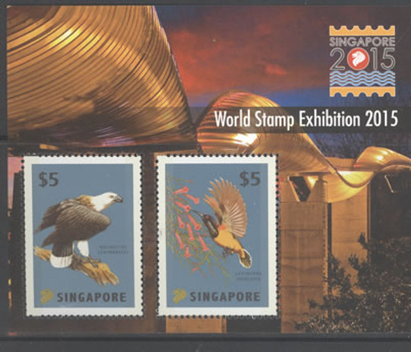 SINGAPORE- World Stamp Exhibition 2015- Sheet of 2- birds- embossed