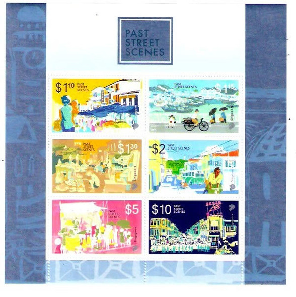 SINGAPORE: Past Street Scenes 2014- Sheet of 6- High Value Definitives