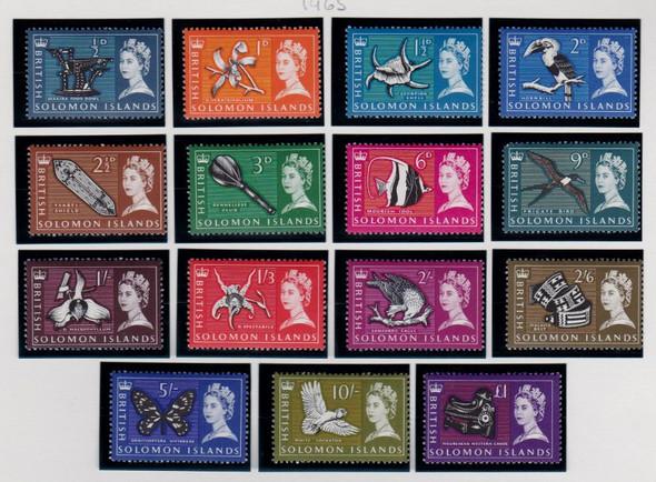 SOLOMON ISLANDS (1965) QUEEN Elizabeth Pictorial Birds Flora (15v)