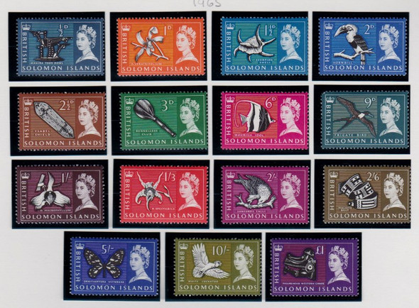 SOLOMON ISLANDS (1965) QUEEN Elizabeth Pictorial Birds Flora (15v)