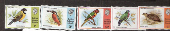 SOLOMON ISLANDS (1975)-BIRDS - 5 VALUES-SCV=$18.00