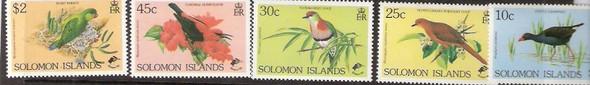 SOLOMON ISLANDS (1990)-BIRDS- 4 VALUES- SCV=$15.50