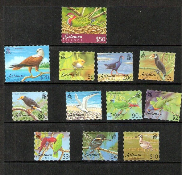 SOLOMON ISLANDS (2001)- BIRD DEFINITIVES-12 VALUES-CAT>$44!