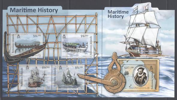 SOLOMON ISLANDS (2012) - Maritime History- Sheet of 5- ships- A deNeyra- navigational instrument