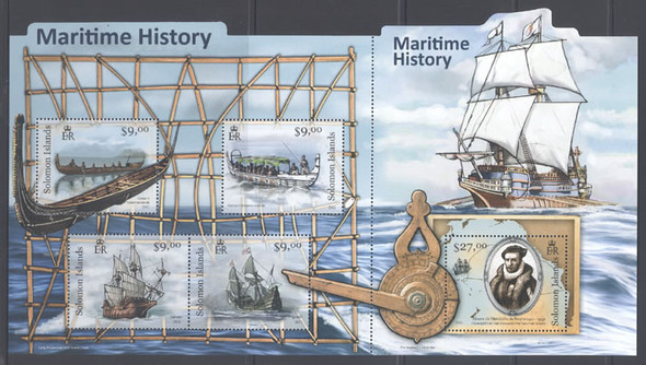 SOLOMON ISLANDS (2012) - Maritime History- Sheet of 5- ships- A deNeyra- navigational instrument