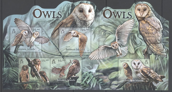 SOLOMON ISLANDS (2012) - Owls- Sheet of 5- Unusual Shape!