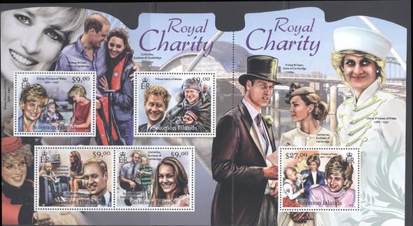 SOLOMON ISLANDS (2012)- Royal Charity- Sheet of 5- Princess Diana- Pr William and Catherine- Pr Harry