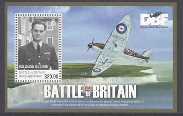 SOLOMON ISLANDS- Battle of Britain- souvenir sheet- Sir Douglas Bader