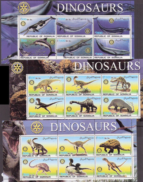 SOMALIA (2002) Dinosaurs Sheetlets of 6 w/ Rotary Int'l logo(6)