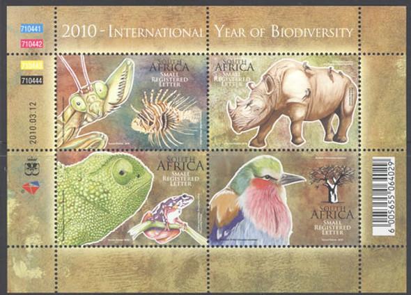 SOUTH AFRICA- Biodiversity Year 2010- Sheet of 4- bird- lionfish- frog- giant mantis- rhino