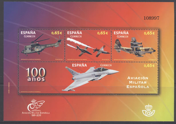 SPAIN- Military Aviation Centenary- Sheet of 4- helicopter- jets