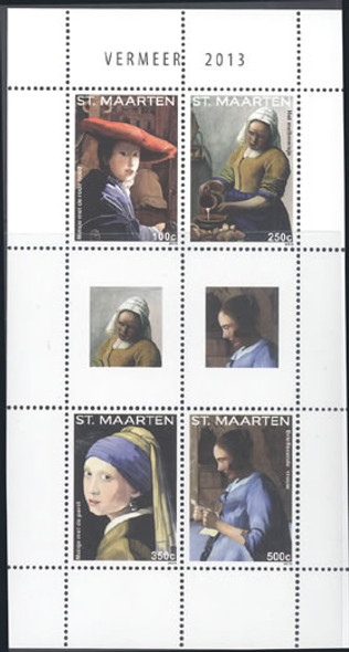 ST MAARTEN Vermeer Paintings 2013- Sheet of 4