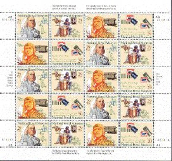 US (1993)- 29c National Postal Museum  Sheet of 20v - #2782a