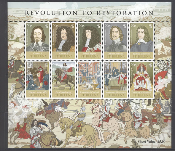 ST. HELENA (2010) - British History- Sheet of 10- Charles I and II- Cromwell- Prince Rupert etc