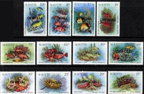 ST. KITTS (1984)- MARINE LIFE OFFICIALS- 12v- SCV=$43.90!