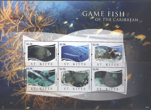 ST. KITTS (2012) - Game Fish- Sheet of 6
