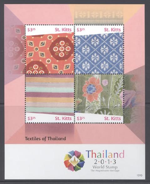ST. KITTS (2015) : Thai Exhibit 2013 Textiles- Sheet of 4