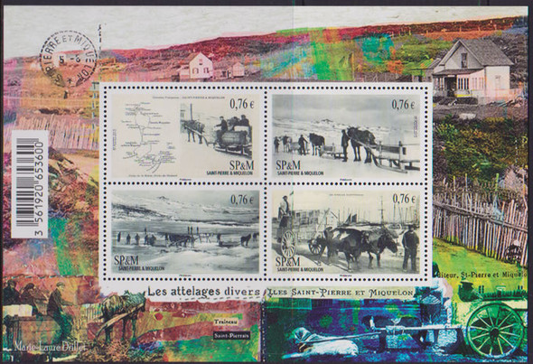 ST. PIERRE (2015) : Carts and Ice Sleds - Sheet of 4