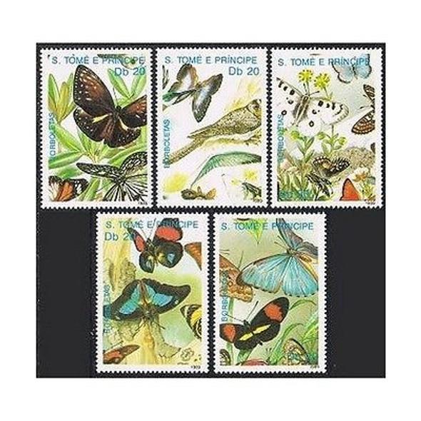 ST. THOMAS (1989)- Butterflies & Birds Sheets  (5 VALUES)