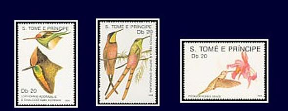 ST. THOMAS (1989)- Hummingbirds & Flowers (3 values)