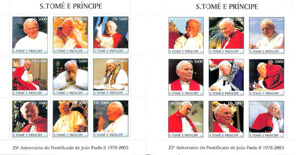 ST. THOMAS (2003)- 25th Anniversary of Pope John Paul (2 Sheets)
