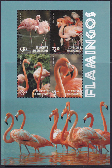 ST. VINCENT (2016)- Flamingos II- Sheet of 4