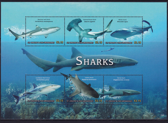 ST. VINCENT(2016)- Sharks- Sheet of 6- Black Tip Reef- Hammerhead