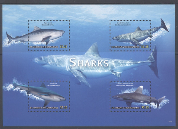 ST. VINCENT- Sharks 2015- Sheet of 4- Tiger- Great White etc.- 1525