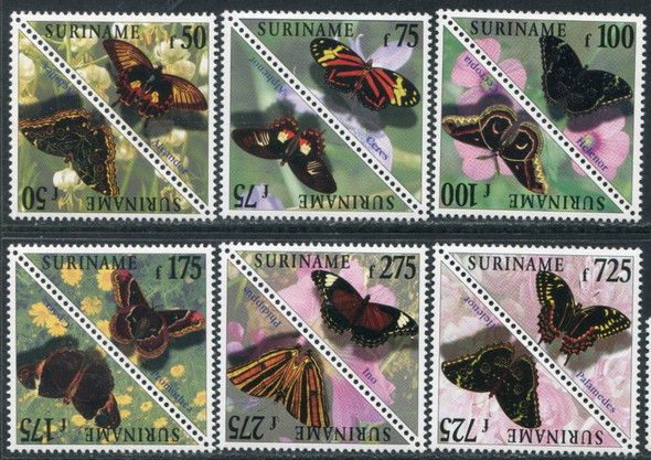 SURINAM (1998) - Butterflies- Triangle Stamps- 12 values