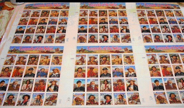 1994 LEGENDS OF THE WEST UNCUT PRESS SHEET
