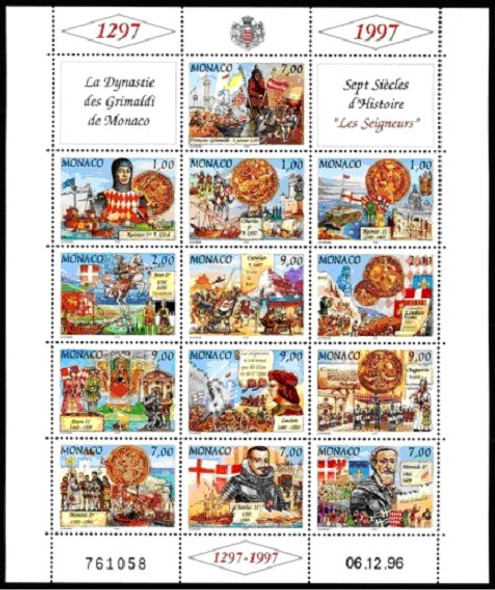 1297-1997 History of Monaco (Grimaldi Dynasty) Sheet