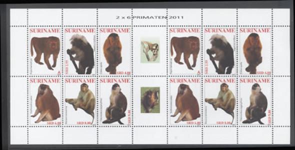 SURINAM- Primates 2011- mini-sheet of 2 sets- center label