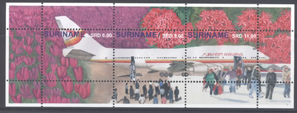 SURINAM: Aircraft 2014- Sheet of 3