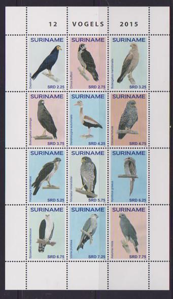 SURINAM: Birds 2015- Sheet of 12