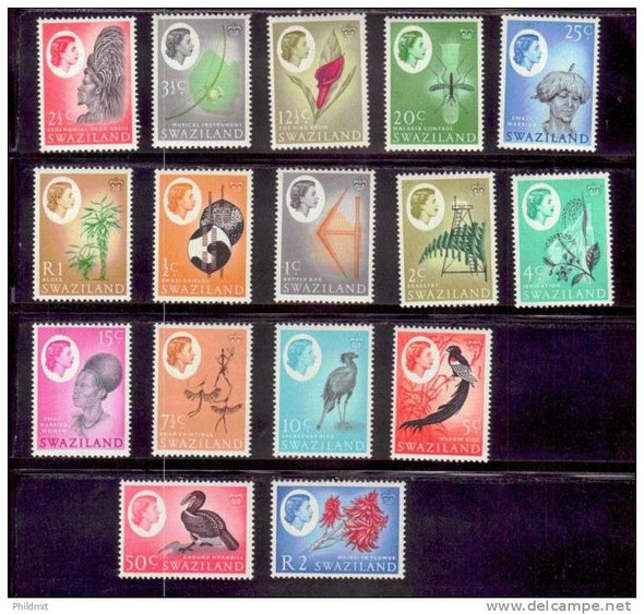 SWAZILAND (1966)- DEFINITIVE SET- BIRDS/FLOWERS/SCENES-SCV=$38!