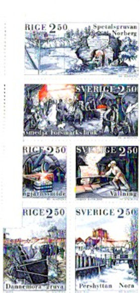 SWEDEN (1991)- Iron Mining Booklet Pane of 6 values