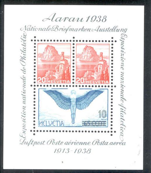Switzerland  (1938)-   1938 AarauPhilatelic Expo  Souvenir Sheet