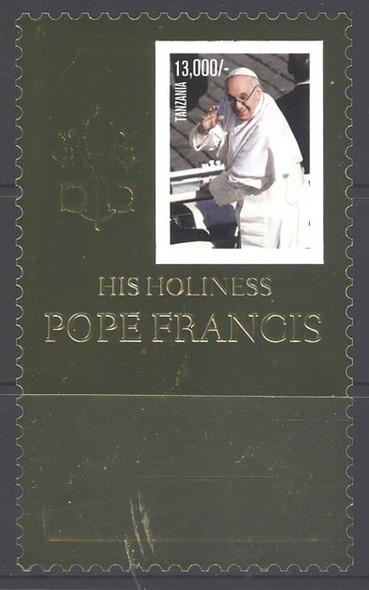 TANZANIA (2013) - Pope Francis- souvenir sheet- gold foil