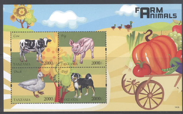 TANZANIA (2015) : Farm Animals- Sheet of 4- dog- pig- cow- duck