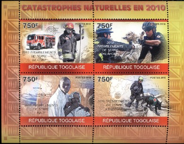 TOGO (2011)- Natural Disasters Sheet- Rescue Dogs, Firemen- 4v