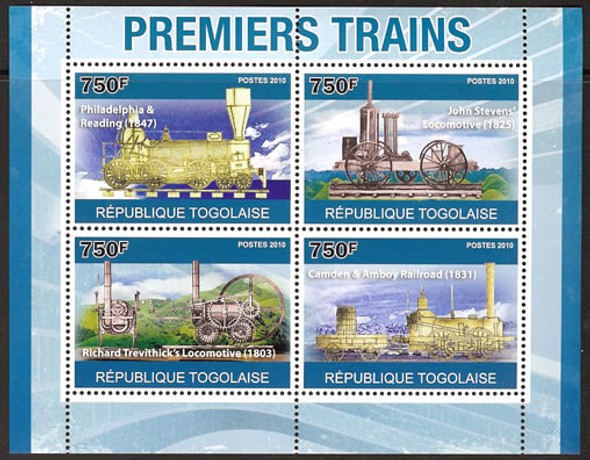TOGO- Antique Trains- Sheet of 4