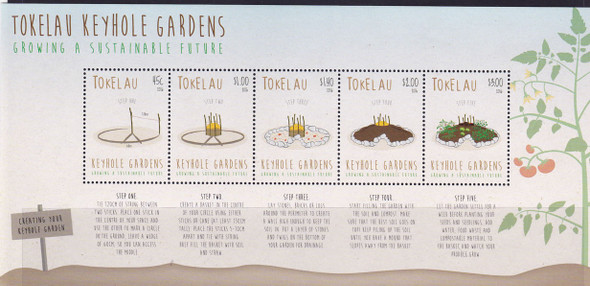 TOKELAU (2016)- Keyhole Gardens- Sheet of 5 with instructions in border