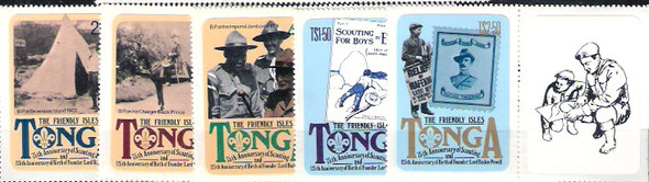 TONGA (1982)- BOY SCOUT ANNVERSARY SELF-ADHESIVES- 5v