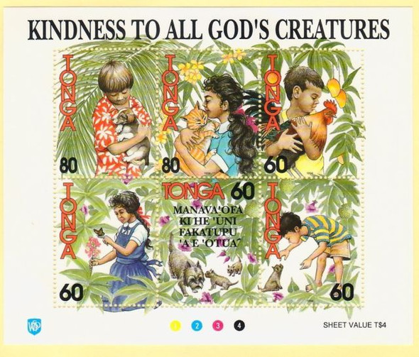 TONGA (1994)- KINDNESS TO ANIMALS-SHEET OF 6- SCV=$17.50
