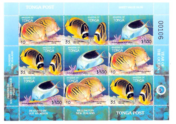 TONGA (1998)- INTERNATIONAL YEAR OF THE OCEAN SHEET OF 9v